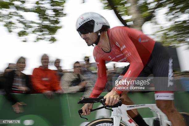 Swiss cyclist Fabian Cancellara rides during the final stage of the Tour of Switzerland UCI World Tour a 384 km individual timetrial race in the...