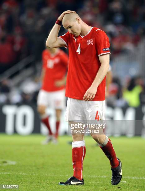 Swiss defender Philippe Senderos reacts at the end of the Euro 2008 Championships Group A football match Switzerland vs Turkey on June 11 2008 at...