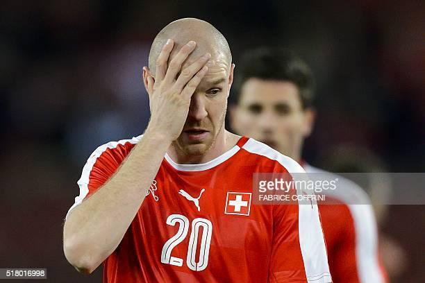 Swiss defender Philippe Senderos reacts during the friendly football match between Switzerland and BosniaHerzegovina at Letzigrund Stadium in Zurich...
