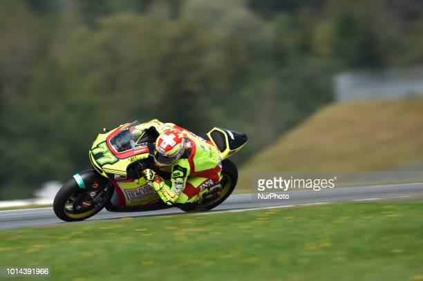 77 Swiss driver Dominique Aegerter of Team Kiefer Racing race during free practice of Austrian MotoGP grand prix in Red Bull Ring in Spielberg...