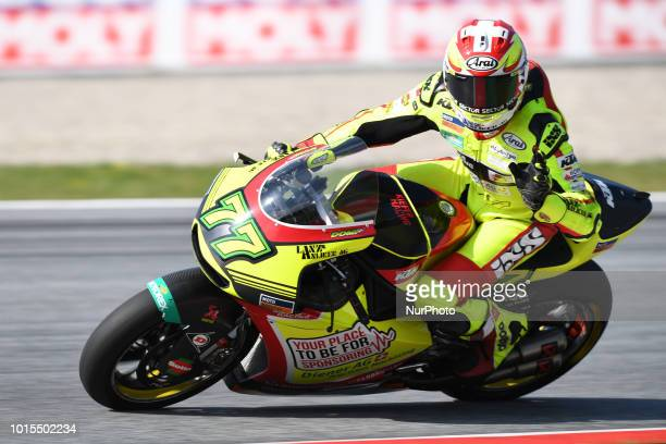 77 Swiss driver Dominique Aegerter of Team Kiefer Racing race during warm up of Austrian MotoGP grand prix in Red Bull Ring in Spielberg on August 12...