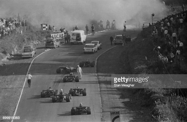 Swiss driver Jo Siffert is killed in a crash during the 1971 World Championship Victory Race at Brands Hatch, UK, 24th October 1971.