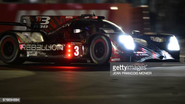 Swiss driver Mathias Beche competes in a Rebellion R13 Gibson LM P1 during the 86th Le Mans 24hours endurance race at the Circuit de la Sarthe on...