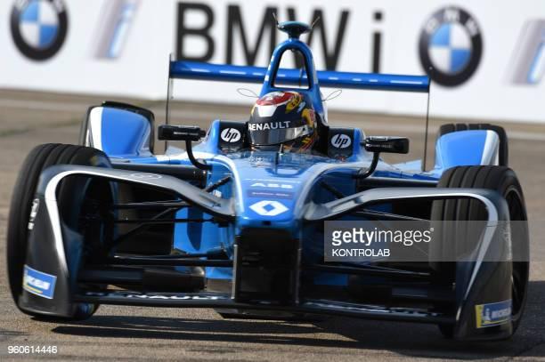 Swiss driver Sebastien Buemi of Renault edams runs during the Free Practice in BMW Berlin EPrix
