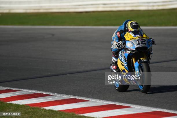 12 Swiss driver Thomas Luthi of Team EG 00 Marc VDS driving during warm up in Misano World Circuit Marco Simoncelli in Misano Adriatico for San...