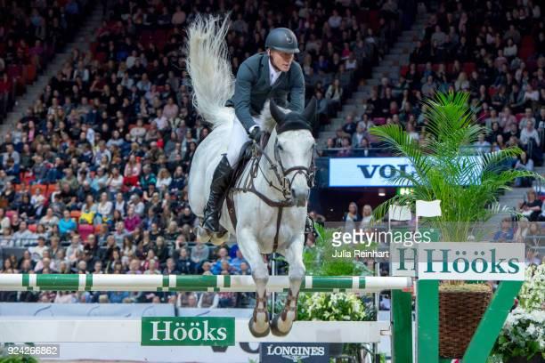 Swiss equestrian Paul Estermann on Curtis Sitte rides in in the Gothenburg Grand Prix Trophy during the Gothenburg Horse Show in Scandinavium Arena...