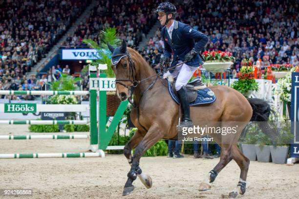 Swiss equestrian Werner Muff on Cosby rides in in the Gothenburg Grand Prix Trophy during the Gothenburg Horse Show in Scandinavium Arena on February...