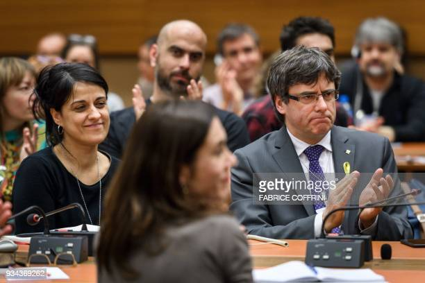 Swiss exiled proindependence former member of the Catalan parliament Anna Gabriel and proindependence Catalonia's deposed leader Carles Puigdemont...