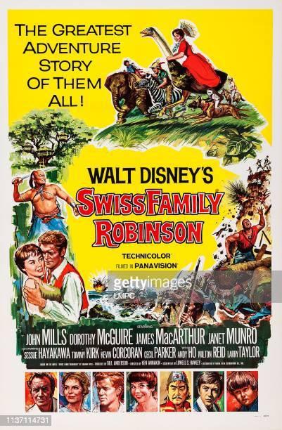 Swiss Family Robinson poster top clockwise Janet Munro James MacArthur Janet Munro Sessue Hayakawa bottom lr John Mills Dorothy McGuire James...