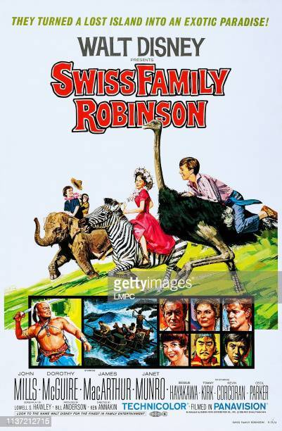 Swiss Family Robinson poster US poster top from rear Kevin Corcoran Janet Munro Tommy Kirk top row of boxes from left John Mills Dorothy McGuire...