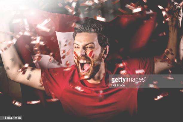 schweizer fan feiert mit der nationalflagge - sportchampion stock-fotos und bilder