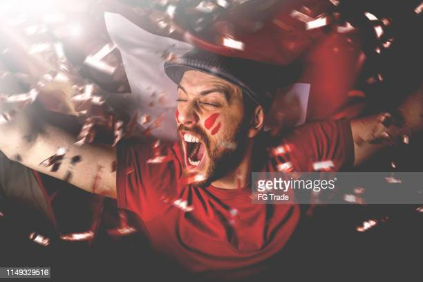 swiss fan celebrating with the national flag - futebol imagens e fotografias de stock
