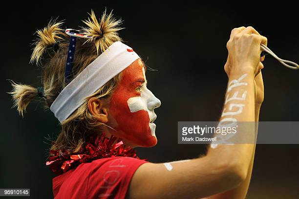 Swiss fan shows her support in the second round match between Roger Federer of Switzerland and Victor Hanescu of Romania during day four of the 2010...