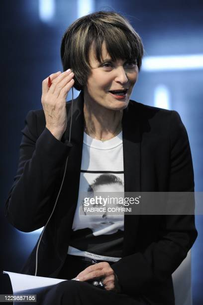 Swiss Federal Councillor and Foreign Minister Micheline Calmy Rey gestures prior to a debate at the Swiss TV on October 22, 2010 in Montreux on the...