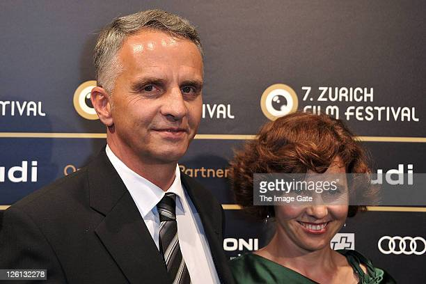 Swiss Federal Councillor Didier Burkhalter and his wife attend the Zurich Film Festival 2011 opening green carpet on September 22 2011 in Zurich...