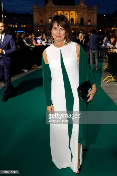 Swiss Federal President Doris Leuthard attends the opening ceremony and 'Borg vs McEnroe' premiere at the 13th Zurich Film Festival on September 28...