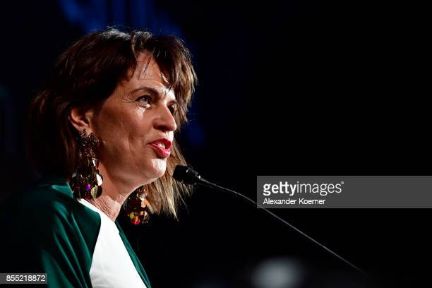Swiss Federal President Doris Leuthard speaks on stage of the opening ceremony and 'Borg vs McEnroe' premiere at the 13th Zurich Film Festival on...