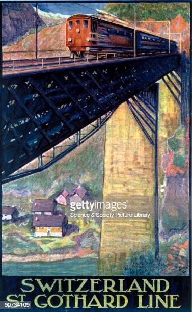Swiss Federal Railways poster showing an electric train crossing a bridge Artwork by Buzzi
