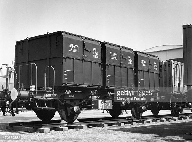 'A Swiss Federal Railways railroad car displayed at the Trade Fair Milan 1960 '