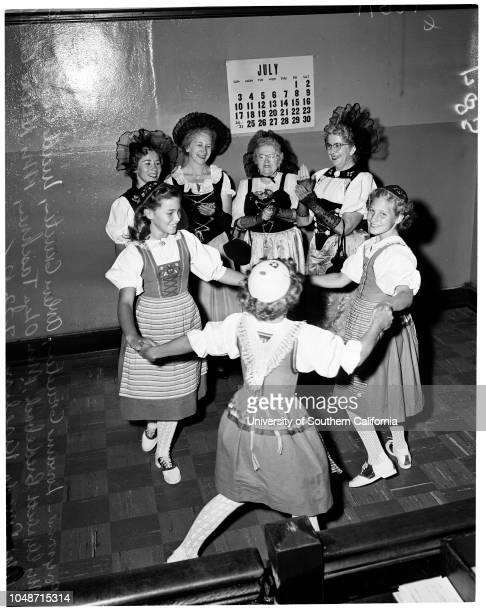 Swiss festival 23 July 1955 Loraine GrueterArlene GrueterLucille GrueterMrs Elizabeth BiedebachMiss Olga TaschnerMrs Helene GuilledMrs Frieda...