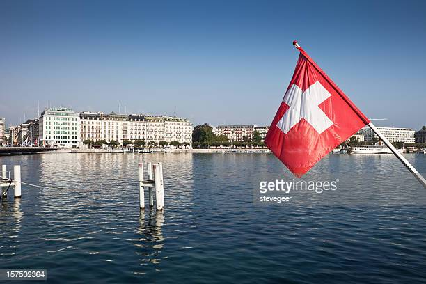 Swiss Flag and Lake Geneva