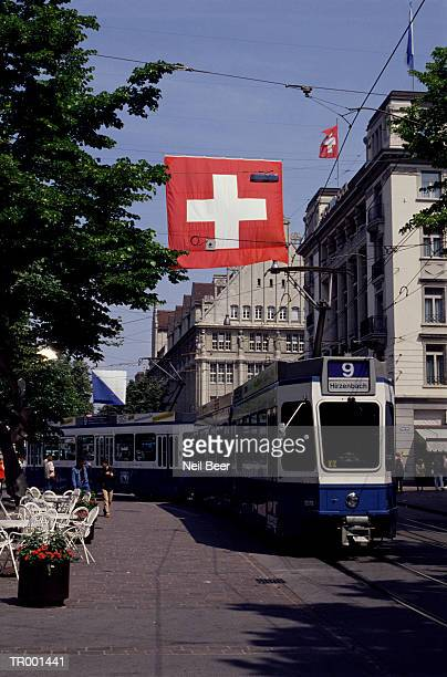 Swiss Flag and Trolley