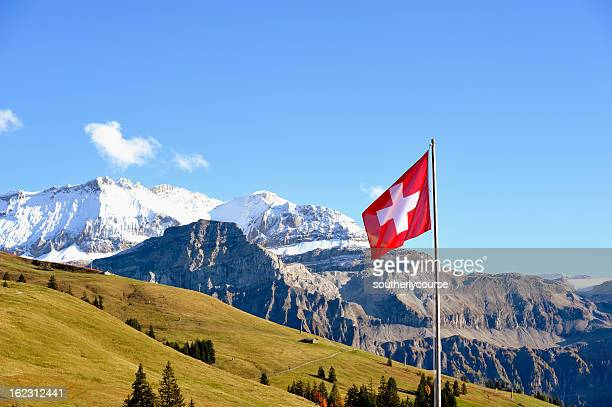 Swiss Flag in Front of Bernese Alps Panorama
