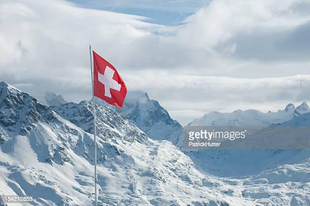 Schweizer Flagge im Engadin