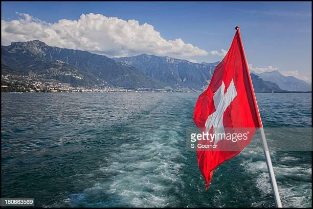 Swiss flag on lake Geneva