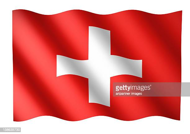 Swiss flag waving or National Flag of Switzerland