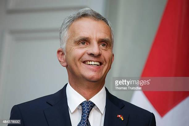 Swiss foreign minister Didier Burkhalter speaks to the media on August 17 2015 in Bern Switzerland