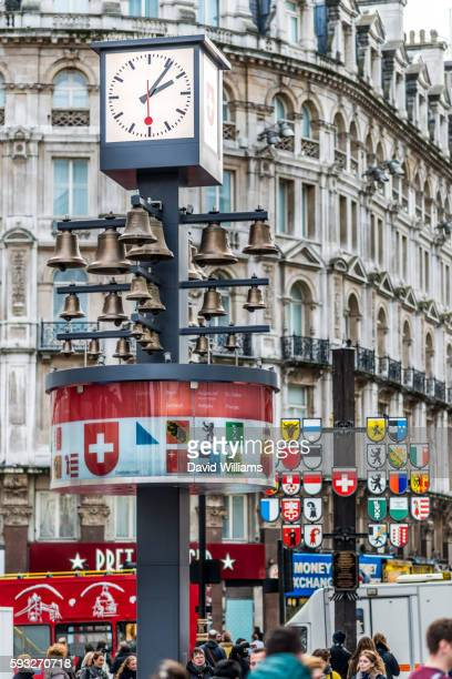 Swiss Glockenspiel in Leicester Square, London, was originally housed in the Swiss Centre. Behind th