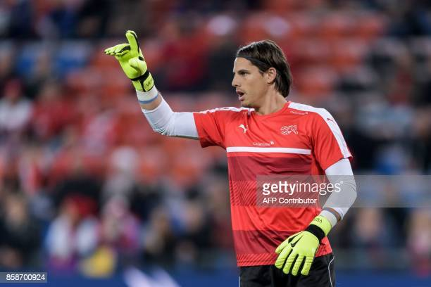 Swiss goalkeeper Yann Sommer gestures during a warm up sesison prior to the the FIFA World Cup WC 2018 football qualifier match between Switzerland...