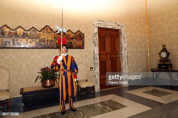 Swiss guard arrives at the Second Lodge of the Apostolic Palace for the visit of State of Lebanese President on March 16 2017 in Vatican City Vatican...