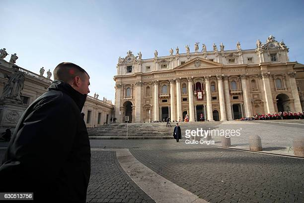 Swiss Guard patrols St Peter's Square as Pope Francis Delivers his Christmas Urbi Et Orbi Blessing from St Peter's Basilica on December 25 2016 in...