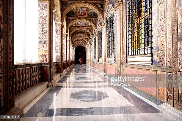 Swiss guard stands at the Seconda Loggia of the Apostolic Palace on October 25 2012 in Vatican City Vatican Pope Sixtus V built the Apostolic Palace...