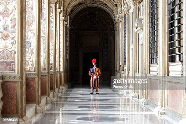 A Swiss Guard stands at the Seconda Loggia of the Apostolic Palace on May 30 2009 in Vatican City Vatican Pope Sixtus V built the threelevel...