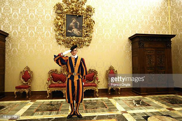 Swiss guard stands on attention during the courtesy visits to the new appointed cardinals at the Apostolic Palace on November 24 2012 in Vatican City...