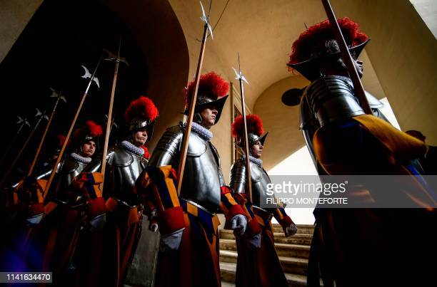 Swiss Guards attend the annual new papal Swiss guards swearingin ceremony on May 6 2019 in the Vatican The annual swearing in ceremony for the new...