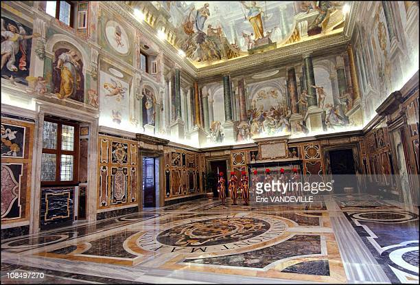 Swiss guards in the Clementine hall at the Apostolic Palace in Rome Vatican City on May 26 2006