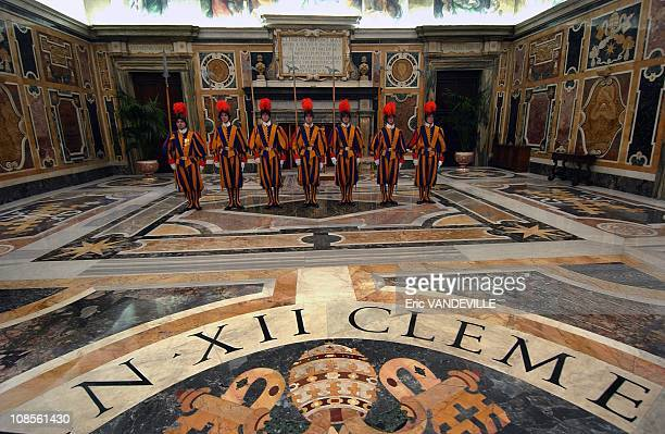 Swiss Guards in the Clementine room the large room used by the Pope for official acts
