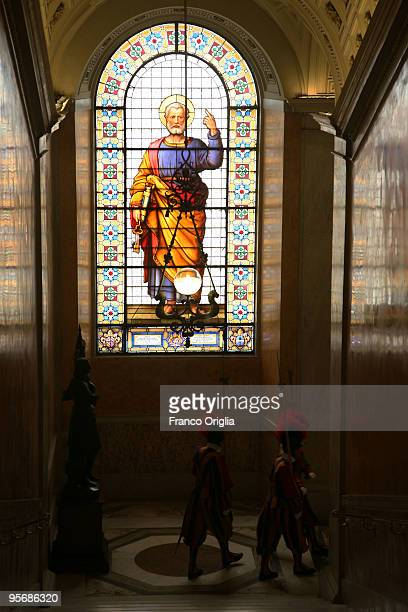 Swiss Guards march in the Apostolic Palace on May 30 2009 in Vatican City Vatican Pope Sixtus V built the Apostolic palace where the present pope...