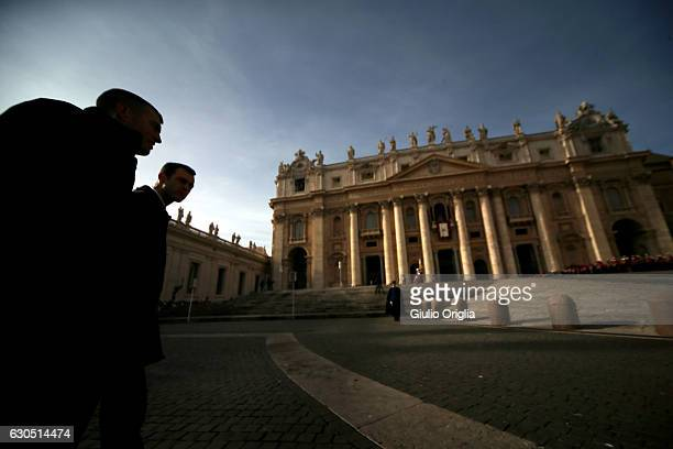 Swiss Guards patrol St Peter's Square as Pope Francis Delivers his Christmas Urbi Et Orbi Blessing from St Peter's Basilica on December 25 2016 in...
