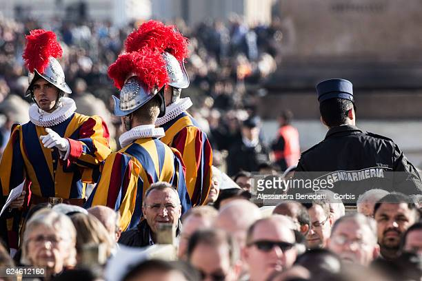 Swiss guards patrol St peter's square during the closing mass of the Extraordinary Jubilee of Mercy led by Pope Francis in St Peter's Square at The...