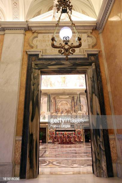 Swiss guards stand on attention in the Clementina Hall at the Apostolic Palace on October 29 2012 in Vatican City Vatican Pope Sixtus V built the...
