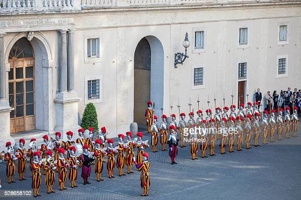 Swiss Guards take part in a swearingin ceremony in San Damaso Courtyard Vatican on May 06 2016 The annual swearingin ceremony for the new papal Swiss...