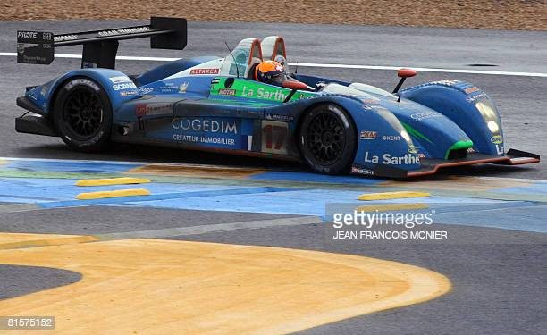 Swiss Harold Primat drives his Pescarolo Judd n17 during the Le Mans 24 Hours 76th edition race on June 15 2008 in Le Mans western France The Audi...