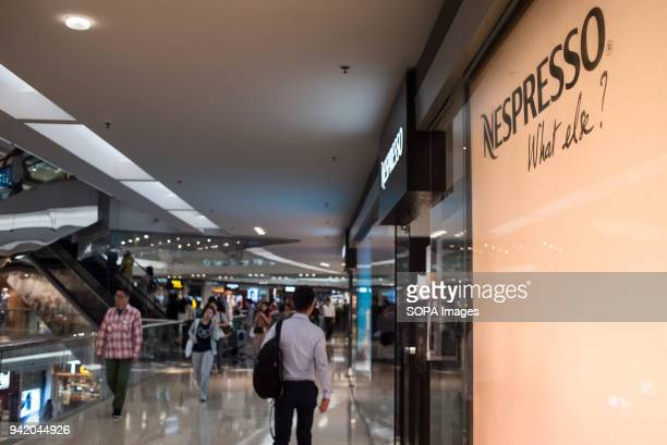 Swiss highend and world leader in coffee capsules brand Nespresso store at Hong Kong's Kowloon Tong shopping mall