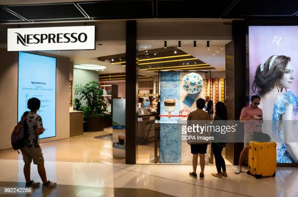 Swiss highend and world leader in coffee capsules brand Nespresso store at Hong Kong's ifc shopping mall in Central district