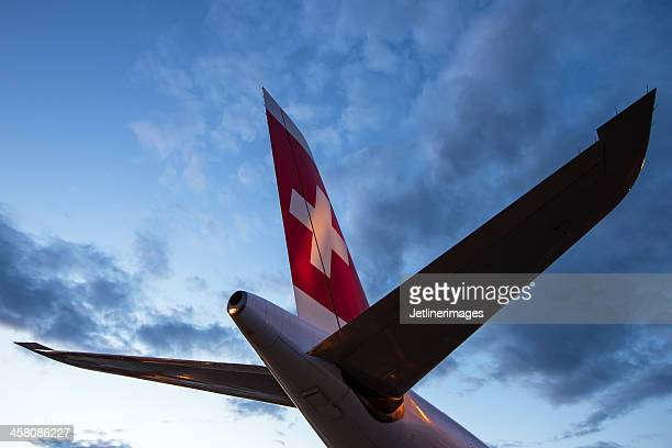 swiss international air lines airbus a340 tail - vertical stabilizer stock pictures, royalty-free photos & images